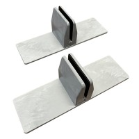Free Standing Screen clamps for glass or acrylic sheet, 4mm to 6mm - Grey Marble, 2pcs