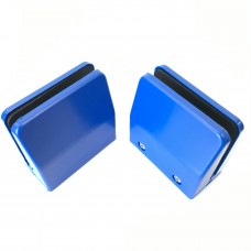 Desk partition screen clamps for glass or acrylic sheet, 4mm to 6mm - Blue, 2pcs